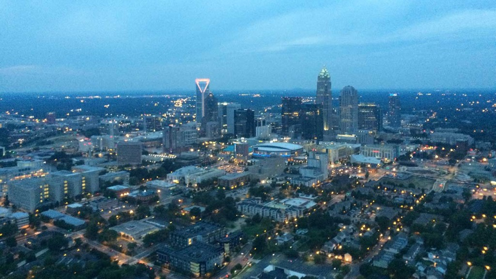 Riding a helicopter over Charlotte with my husband
