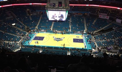 The skyline on the old Hornets scoreboard will become a parade float