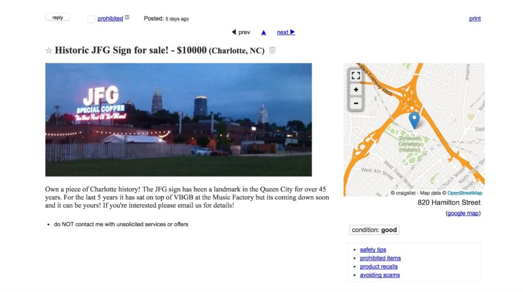 The historic JFG sign at the Music Factory is for sale on Craigslist