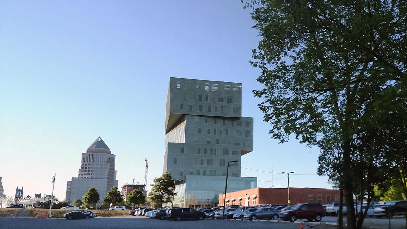 It's that cool stacked building Uptown – take a tour of UNC Charlotte Center City