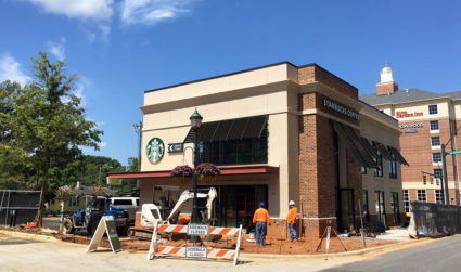 Starbucks targets August 11 for SouthPark grand opening. This two-story coffee shop also has a drive-through.
