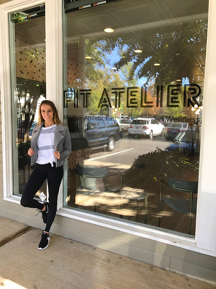 athleisure outfit plus jacket