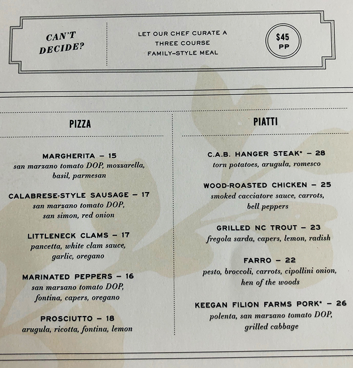 pizza menu indaco charlotte