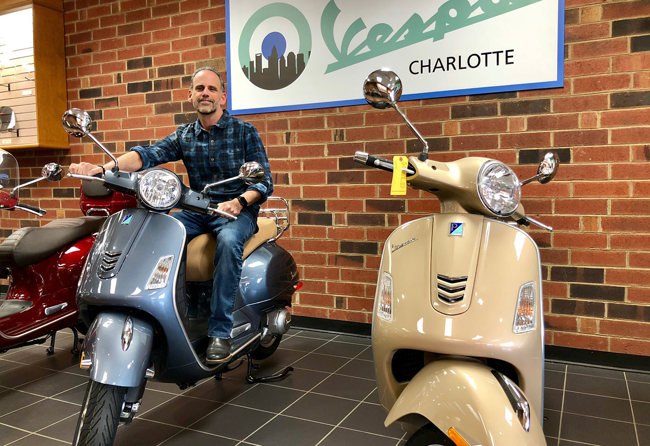 I took a test drive at Charlotte's new Vespa dealership and now I want a scooter