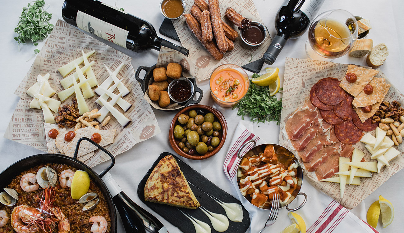 Spanish tapas restaurant Bulla Gastrobar now open. View paella octopus, meatballs, ham and cheese balls and more dishes.