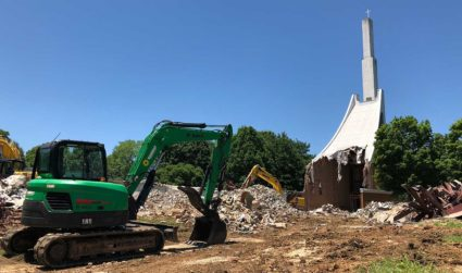 "In a city full of cranes, the former ""Ski Slope Church"" preaches that its demolition is different"