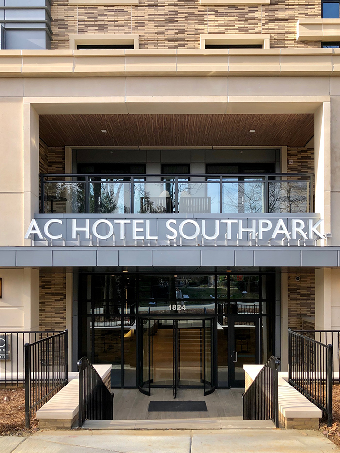 ac hotel entrance in southpark charlotte
