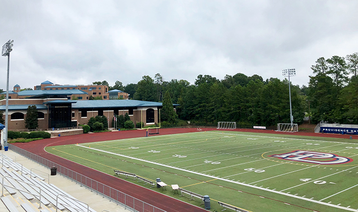 football field and athletic center at providence day private school in charlotte