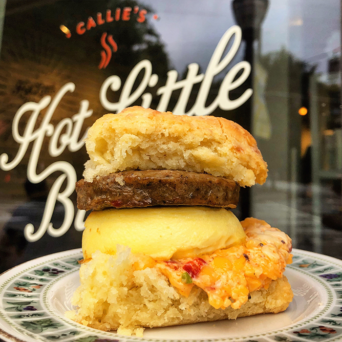 Sausage Egg Pimento Cheese Biscuit Sandwich at callie's hot biscuit