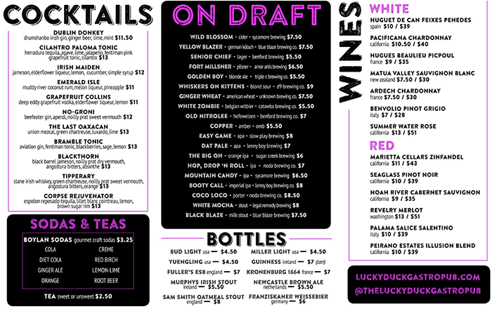 cocktail beer wine menu at lucky duck