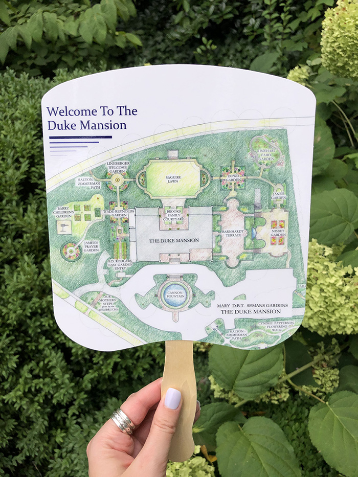 Duke Mansion Cocktails in the Courtyard map fan