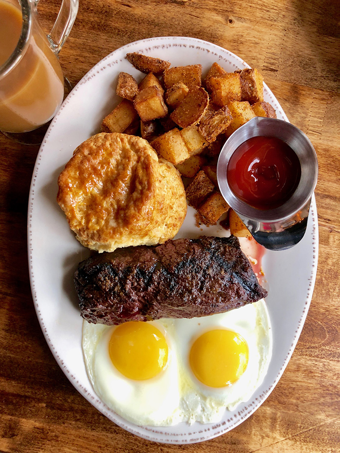 steak and eggs from crepe cellar charlotte