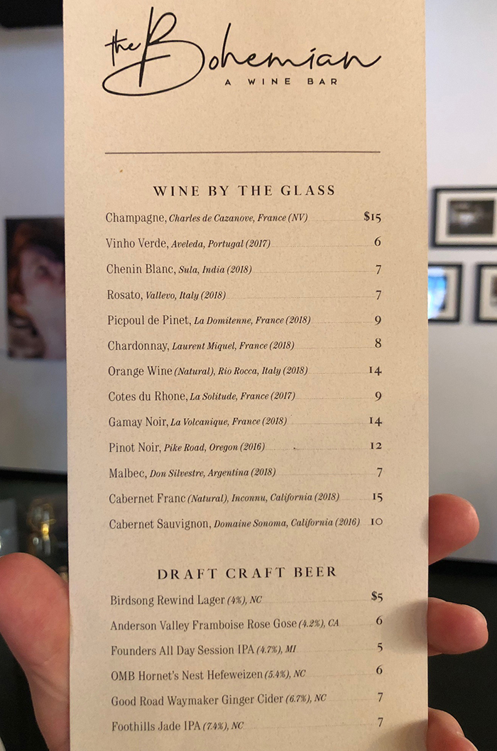 wine by the glass at the bohemian in charlotte