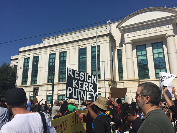 Kerr Putney sign at protest in 2016