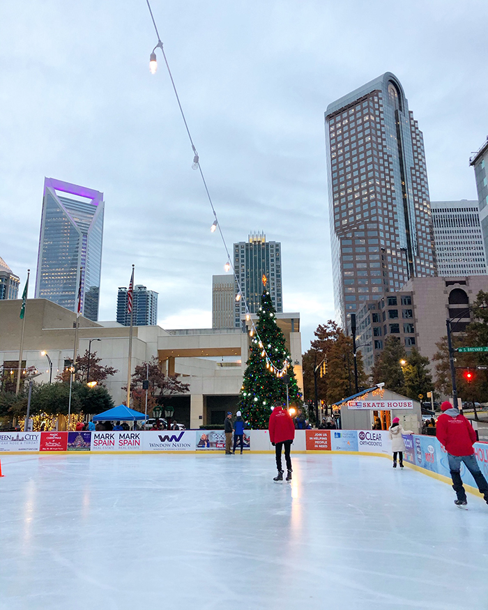 ice skating rink in uptown charlotte holiday on ice