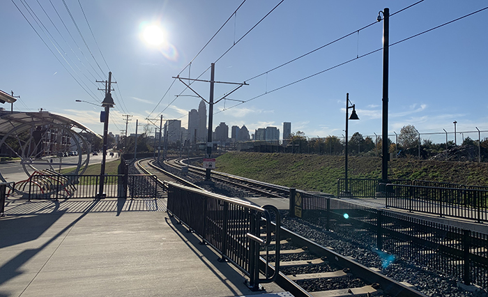 Charlotte Blue Line stop view from North End