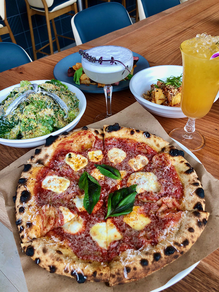 pizza and salad from indaco