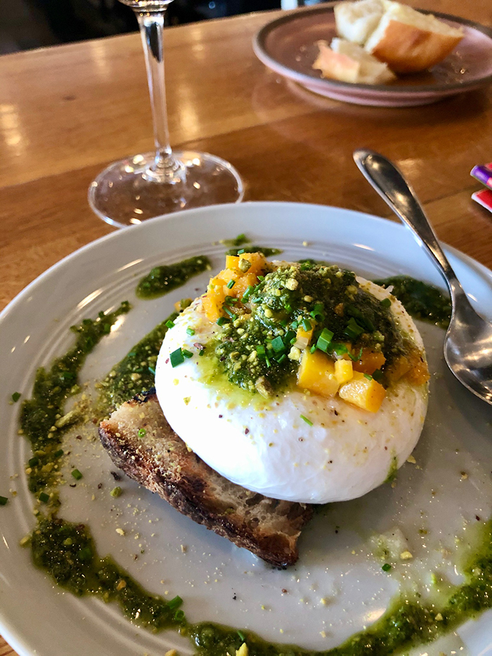 burrata appetizer at flour shop