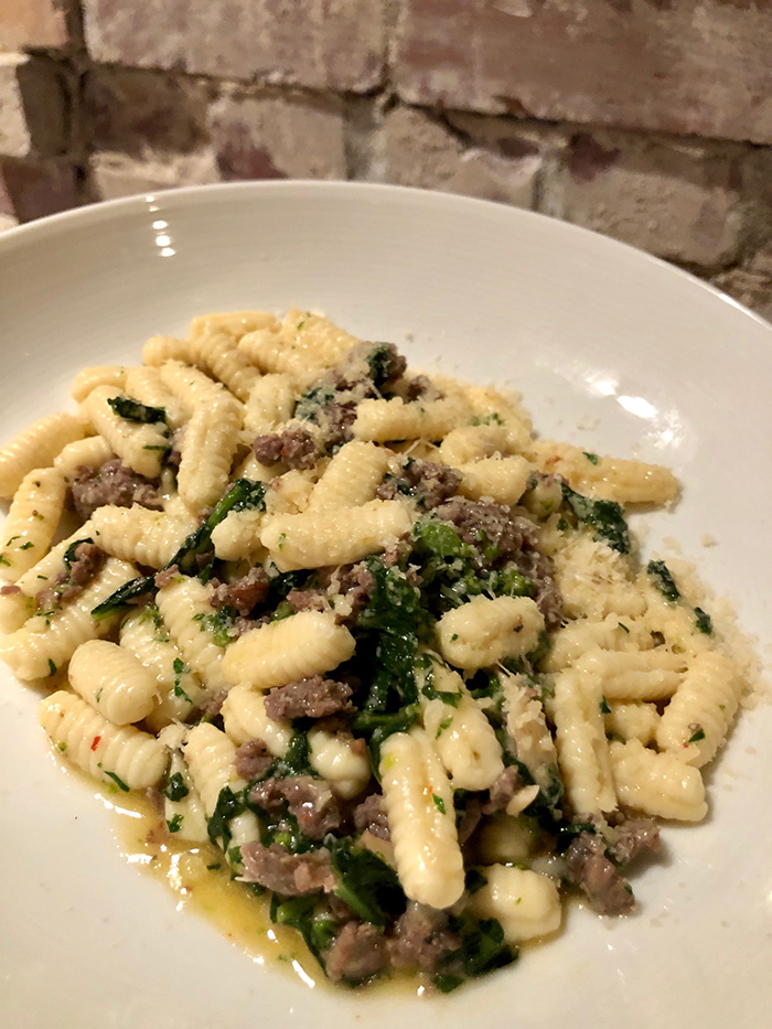 cavatelli with lamb sausage and rabe from Osteria LuCa, new Italian restaurant open in Park Road Shopping Center