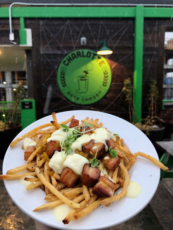 poutine fries at charlotte beer garden