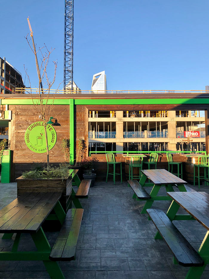 rooftop picnic tables at charlotte beer garden