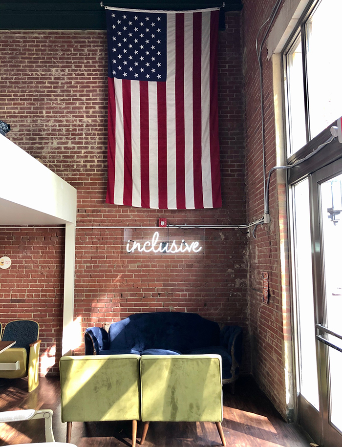 coffee shop seating at lincolns haberdashery in charlotte
