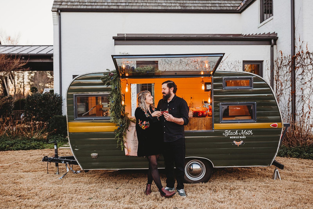 This mobile cocktail bar is putting down roots at Camp North End