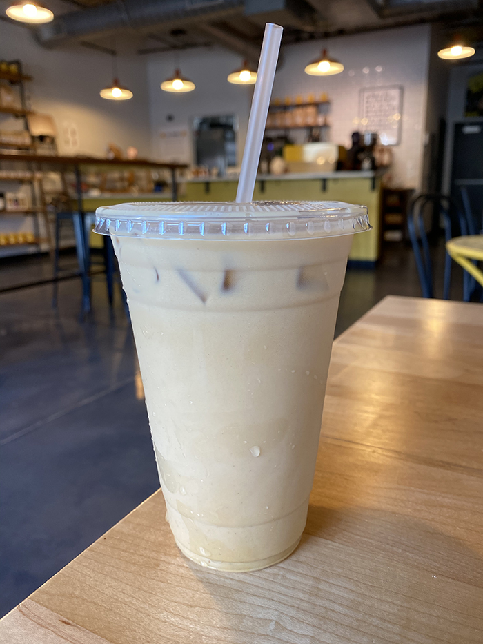 enderly iced fall spice latte