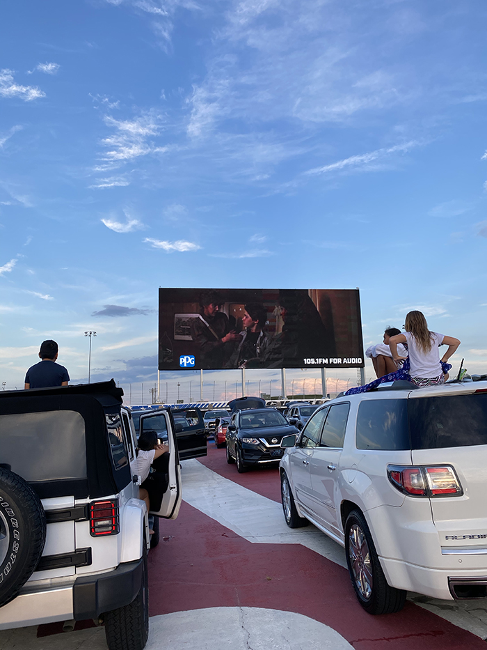 drive-in movie at the speedway