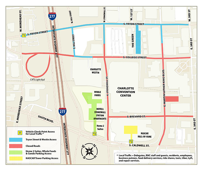 Road closure map during the RNC (courtesy of the Republican National Convention)