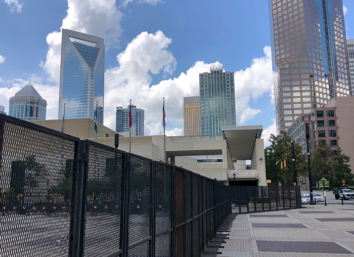 Fence around the Charlotte Convention Center during the RNC