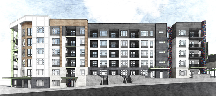 Rendering of the renovated Johnston Mill in NoDa