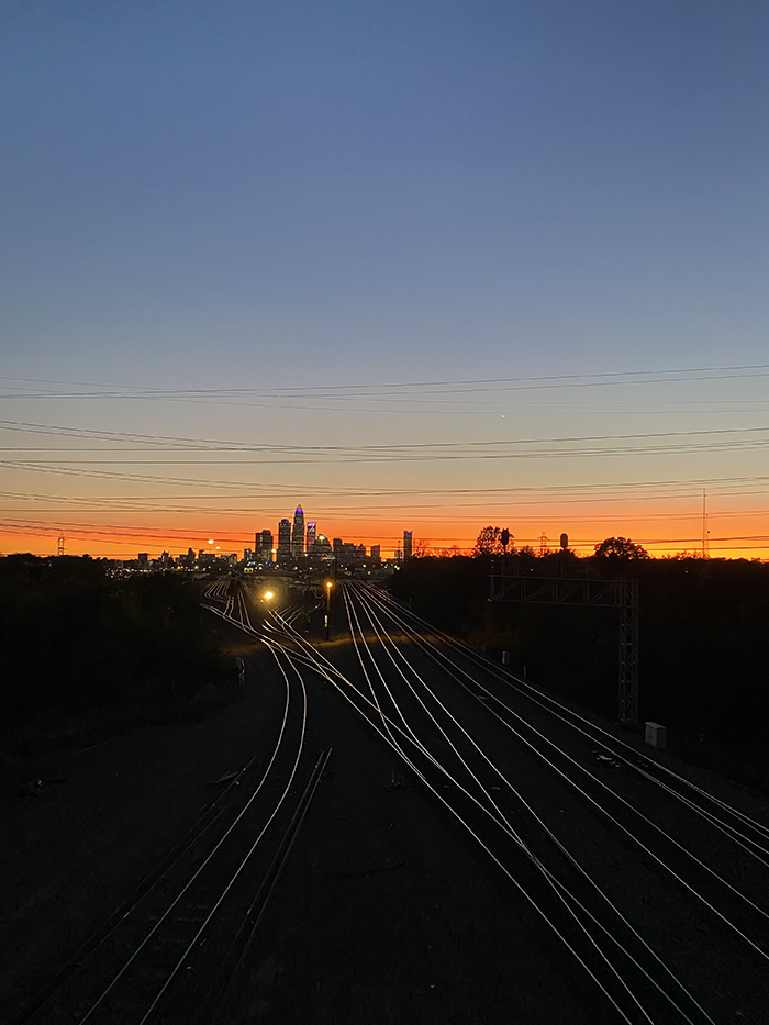 sunset from the Matheson Avenue bridge on Tuesday