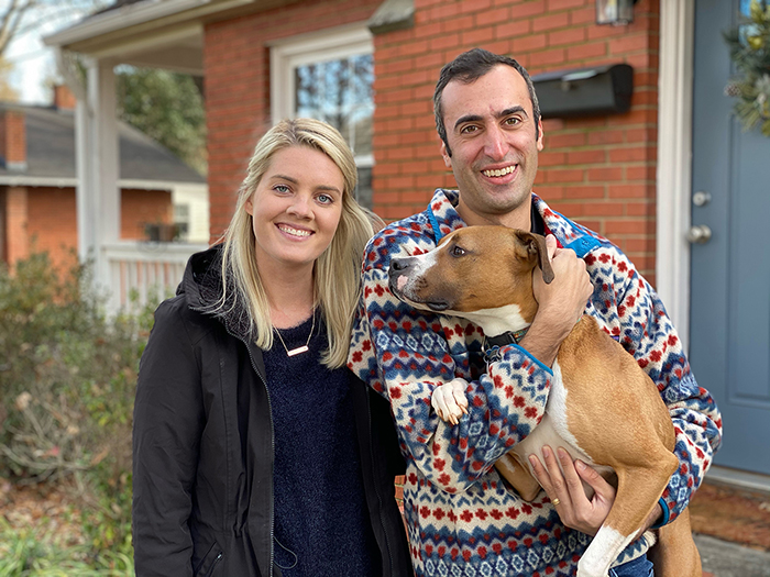 Joe Bruno and Liz Egan with their dog Dansby