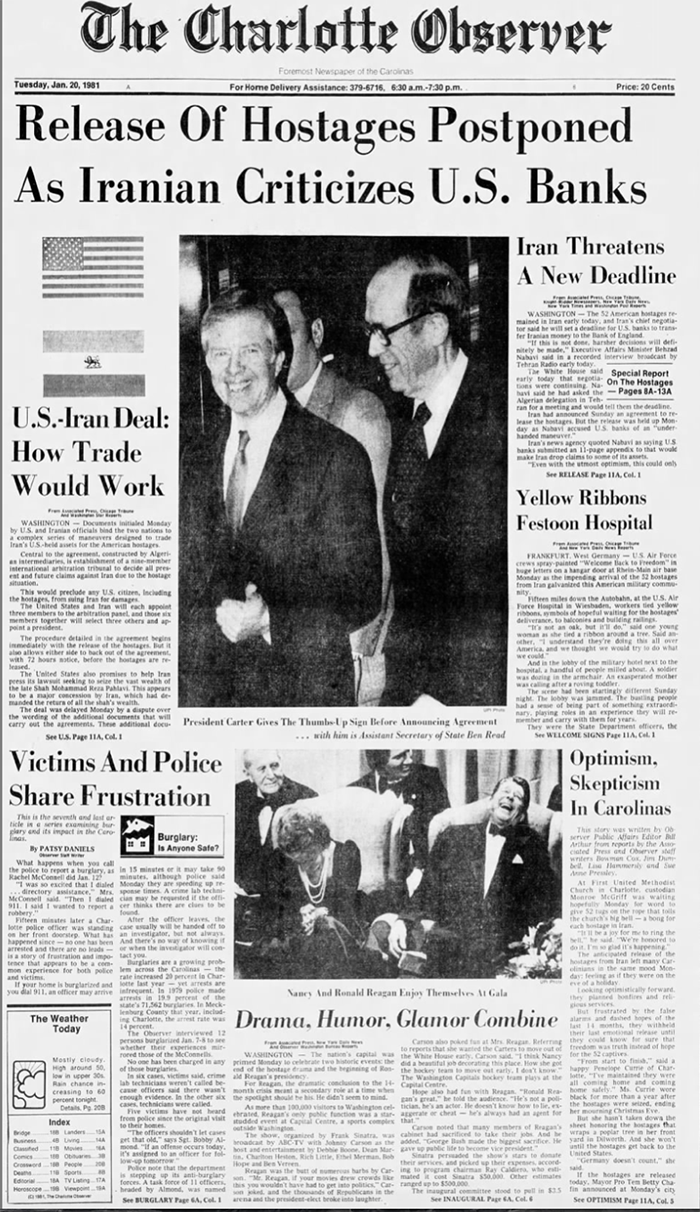 January 20, 1981 Observer front