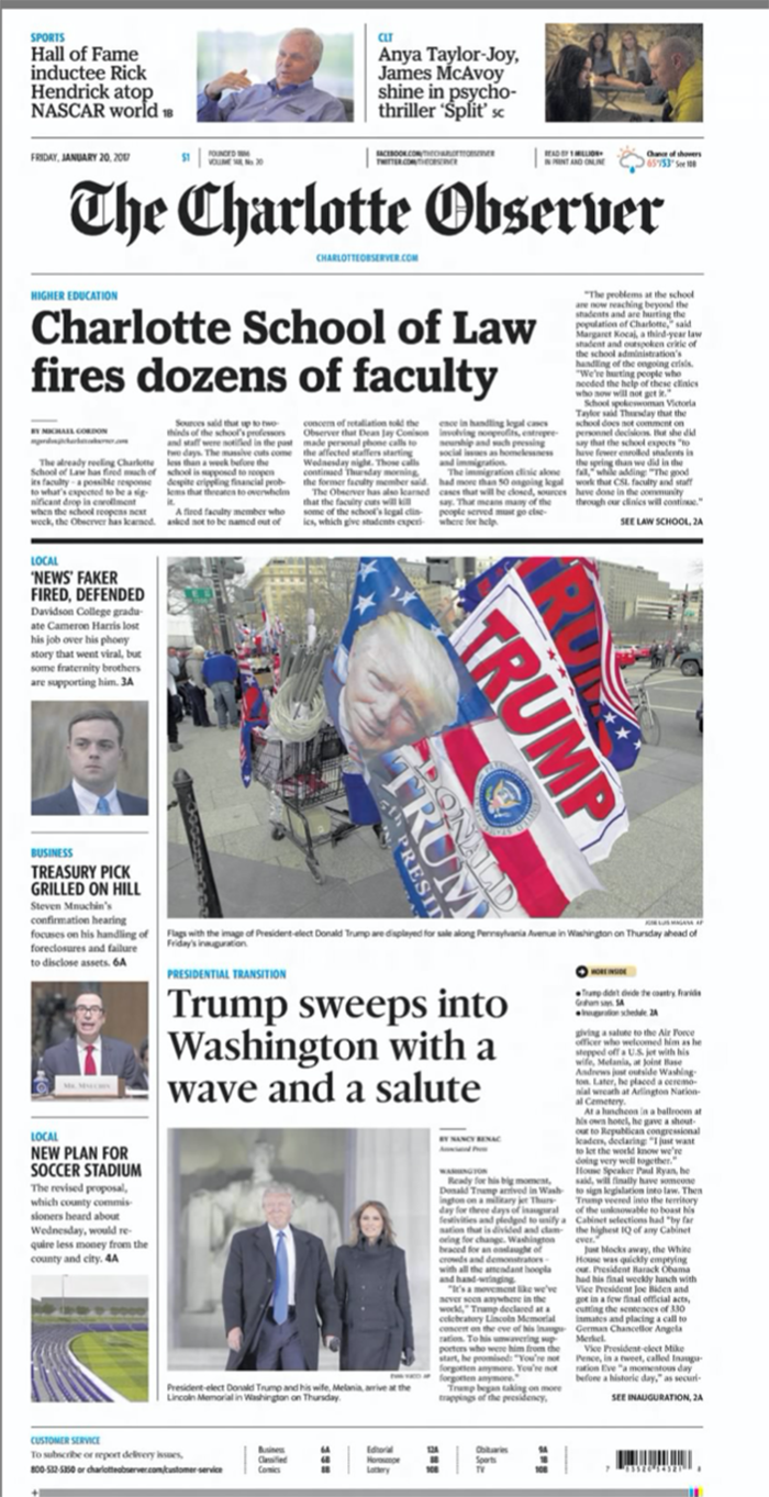 January 21, 2017 Observer front page Trump inauguration day