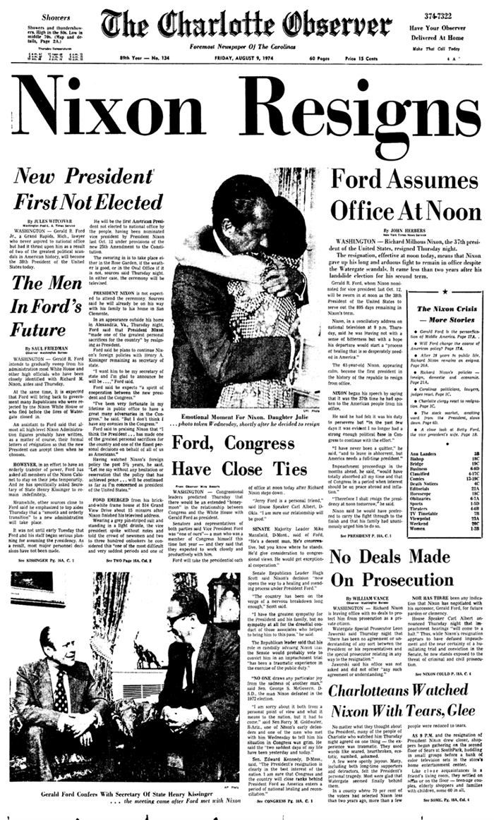August 9, 1974 Observer front