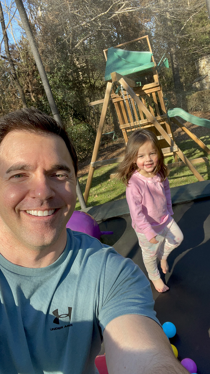 Jeff Jackson and his daughter Avery on trampoline