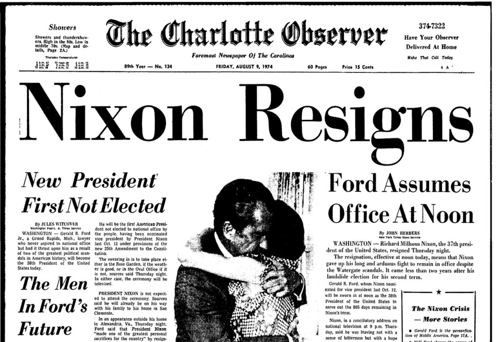 6 Inauguration Day front pages from the 1974 to today
