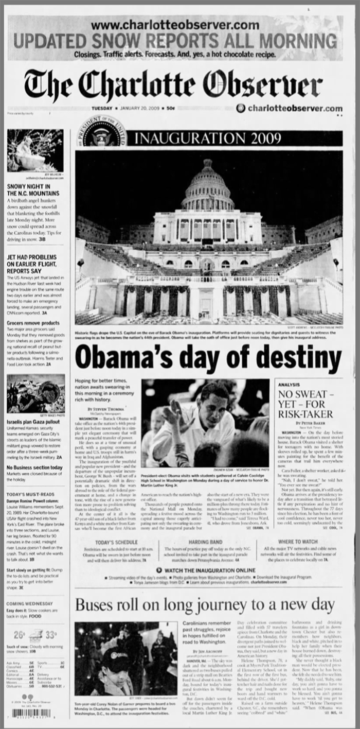 January 20, 2009 Observer front Obama Inauguration