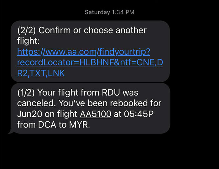 American Airlines flight cancellation text.