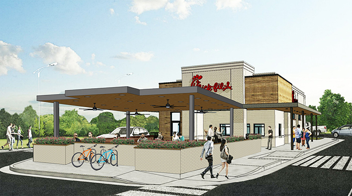 Chick fil a rendering, east Woodlawn chick fil a, drive-thru only