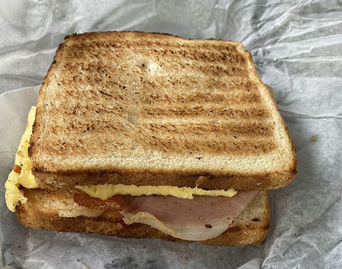 country ham and egg sandwich at Pressley Park