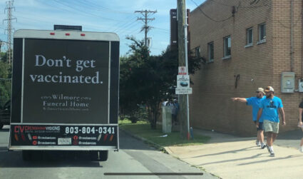 """Who's behind the """"Don't get vaccinated"""" ad stunt?"""