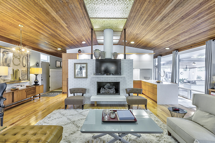 mid-century modern home tour on wylie lake fireplace