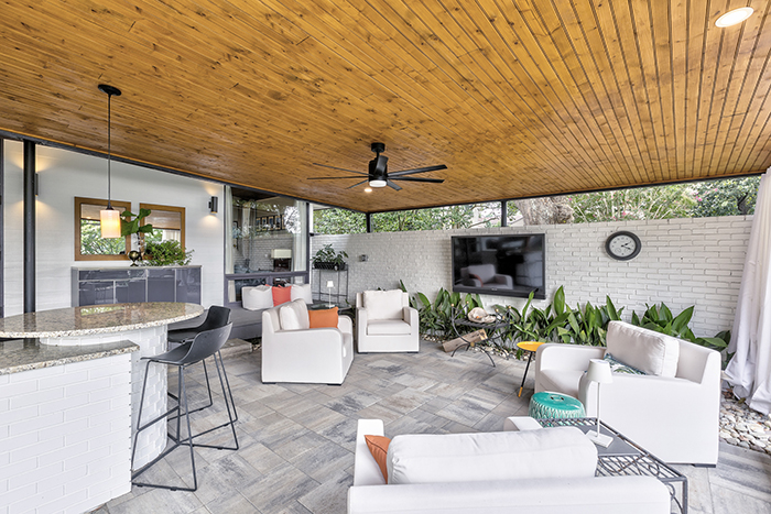 mid century modern home visit on lake wylie living room 2