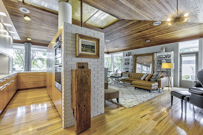 tour of the mid-century modern home on wylie lake living room entrance